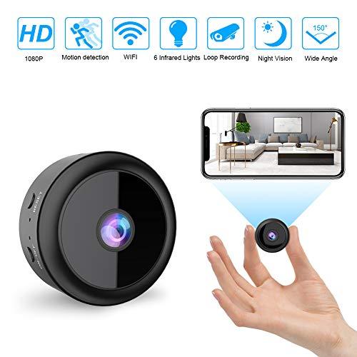 RIRGI Cámaras espía Oculta, Cámaras Espía WiFi 1080P HD, con IR Visión Nocturna Detector de Movimiento, Grabadora de Video, Camaras de Seguridad Pequeña para Interior/Exterior (Negro)