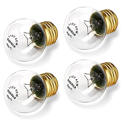 Appliance Oven Refrigerator Bulbs, G45 Shape Appliance Light Bulb, High Temp - E27/E26 Medium Brass Base - 40 Watt/120 Volt, Clear Glass Oven Bulb, 400Lumens