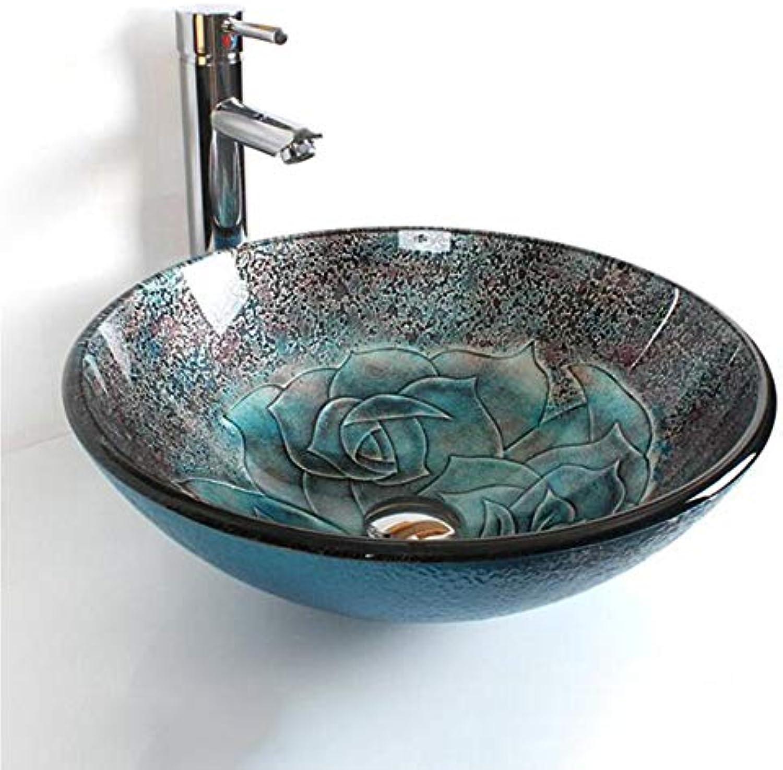 GongDi Waschpltze Waschbecken aus gehrtetem Glas Aufsatzbecken Kunst über Gegenbecken Badezimmer Waschbecken Set