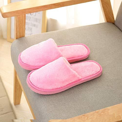 ypyrhh Slippers Confortables Zapatos Interio,Plush Indoor Cotton Slippers, Non-Slip Warm Slippers-Pink_39-40
