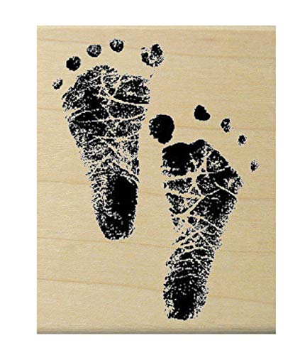 Large Baby feet Rubber Stamp WM P3