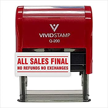 All Sales Final No Refunds No Exchanges Self Inking Rubber Stamp  Red Ink  - Medium