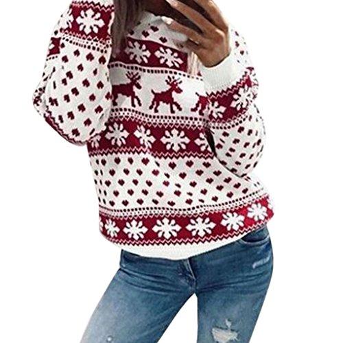 kaifongfu Women Blouse Xmas Christmas Floral Print Top Long Sleeve Velvet Sweatshirt (Red, M)
