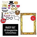 Aufblasbarer Fotorahmen XXL Gold inkl. 20 Requisiten | Selfie Rahmen 85 x 60 und Fotorequisiten Set...