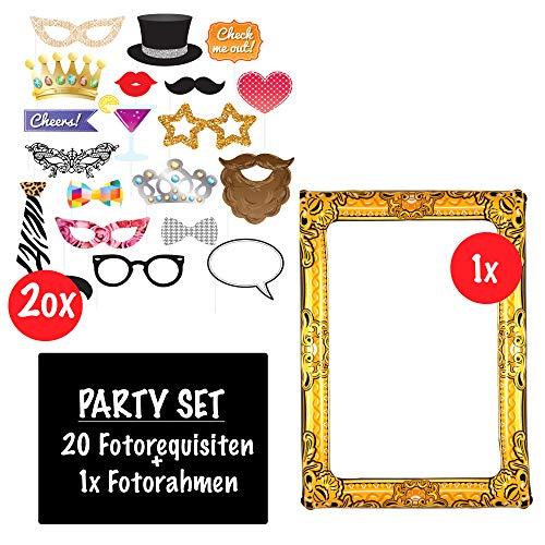 Aufblasbarer Fotorahmen XXL Gold inkl. 20 Requisiten | Selfie Rahmen 85 x 60 und Fotorequisiten Set Kit | Ideal für Fotoautomat Selfies Foto-Session Partys Feste Hochzeit Silvester Geburtstag