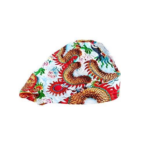 Extra Large Satin Sleep Bonnet Cap for Women & Girls, Wide Band Satin Bonnet Sleeping Night Cap & Hat for Natural Hair, Long Braids Colorful Chinese Dragon
