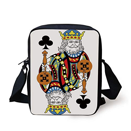 King,King of Clubs Playing Gambling Poker Card Game Leisure Theme Without Frame Artwork,Multicolor Print Kids Crossbody Messenger Bag Purse
