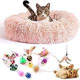 Cama Gato Antiestrés con 16 Juguetes para Gatos, Cama para Gatos Suave Redonda Tipo Donut de 50cm. y Pack de Juguetes para Gatos, Cama para Gatos de Lujo Lavable a Máquina. (Cat Toys Rosa)