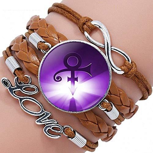 Leder-Punk-Armband,Leuchtendes Violett Prince Symbol Multi Layer Geflochtenes Seil Wrap Armreifen Stulpe Einstellbare Personalisierte Armbänder Unisex Mann Frauen Charme Bracelets Fashion Gothic Sch