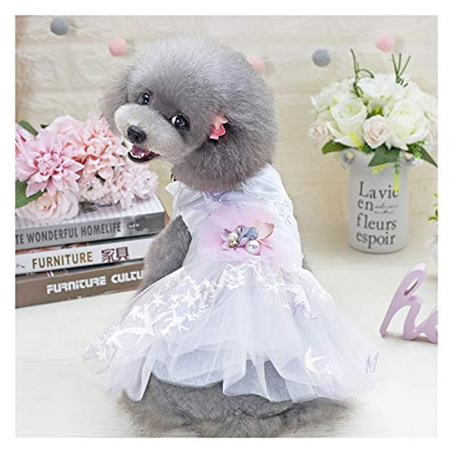 Lindo Traje de Novia Vestido de Fiesta de la Boda del Arco del Perro del Vestido del tutú de la Falda de Encaje para Mascotas de Perros. (Color : White, Size : S)