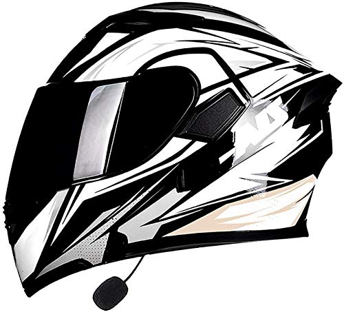 Feeyond Casco Abatible para Motocicleta con Auriculares Bluetooth, Casco Modular con Doble Visera Solar Integrado, Micrófono De Altavoz Incorporado, Respuesta Automática Certificación Dot/ECE,B,XL