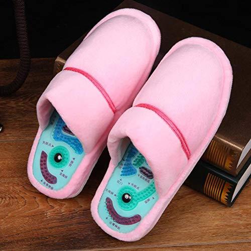 ADAHX Invierno Acupuntura del Masaje del Pie Zapatillas Salud Reflexología Zapatos Sandalias Magnéticos Acupuntura Pies Sanos Cuidado Massager Zapatos Imán,Rosado