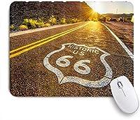 NIESIKKLAマウスパッド モハーベ砂漠の歴史的なルート66にあるルート66の道路標識 ゲーミング オフィス最適 高級感 おしゃれ 防水 耐久性が良い 滑り止めゴム底 ゲーミングなど適用 用ノートブックコンピュータマウスマット