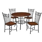 Dorel Living 5-Piece Wood and Metal Cafe-Style Dinette Set for Kitchen or Living Room