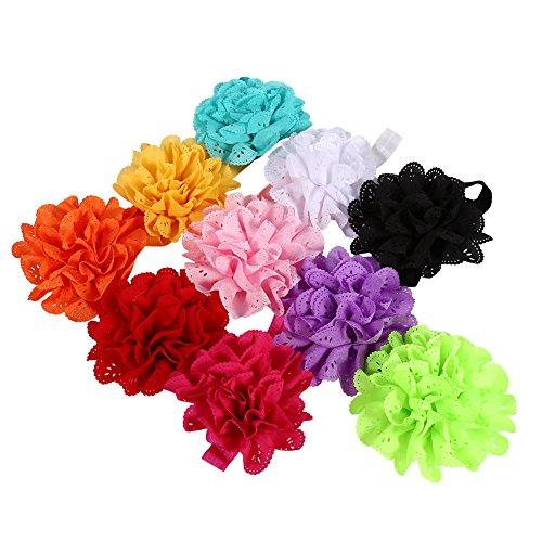 DaMohony 10 diademas para bebés niñas cintas para el pelo, cintas para las orejas con flores, extensiones de cabello para bebés y niños pequeños