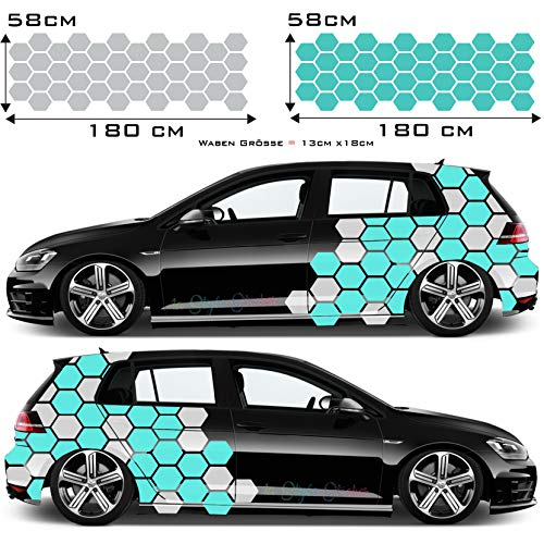 1A Style Sticker Auto Seitenaufkleber Set Hexagon Waben 84 Teilig für Beifahrer & Fahrerseite Autoaufkleber