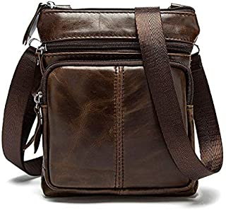Men's Business Genuine Leather Bag Large-Capacity Male Handbag Shoulder Bag JAUROUXIYUJINn (Color : Coffee)
