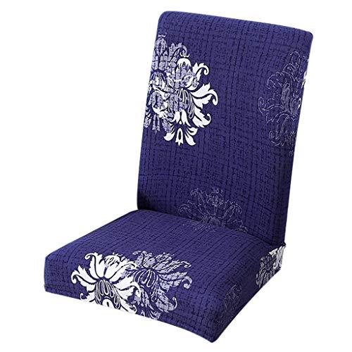 FLAMEER Short Dining Chair Cover Hocker Sitz Schonbezug für Home Kitchen, Hotel, Meeting, Bankett Hochzeitsfeier - Blumenblau