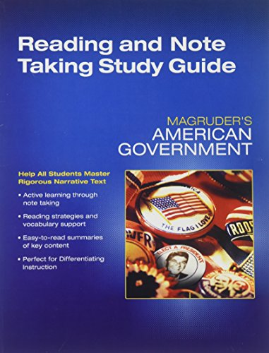 Magruders American Government Reading and Notetaking Study Guide Grade 12