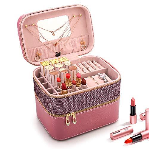 LITAO Kosmetische Aufbewahrungsbox Kosmetische Aufbewahrungsbox Staub Schmuck eins mit Spiegel Koffer net roten Lippenstift Aufbewahrungsbox kleine tragbare vertikale, rosa