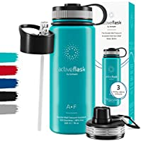 Drinkfles RVS Thermosfles ACTIVE FLASK + Strohalm (3 Drinkdoppen), BPA-Vrij + Lekvrij   1 Liter/500 ml Isoleerfles,...