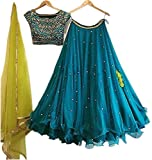 Colours Collection Women's Georgette Embroidery Semi-stitched Lehenga Choli (BLUE, Free size)