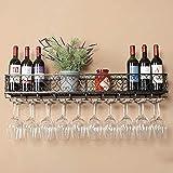 Estante de vino montado en la pared,PortaBotellas Botellero Vino de metal...