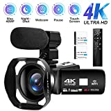 Videocámara 4K Cámara de Video Digital Ultra HD 48MP WiFi Videocamara para...