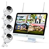 """YESKAMO Wireless Security Camera System Outdoor [Floodlight & 16"""" Monitor & Audio] 1080P WiFi IP Cameras with 16"""" Full HD IPS Screen for Home Surveillance, Remote View 2 Way Audio, No Hard Drive"""