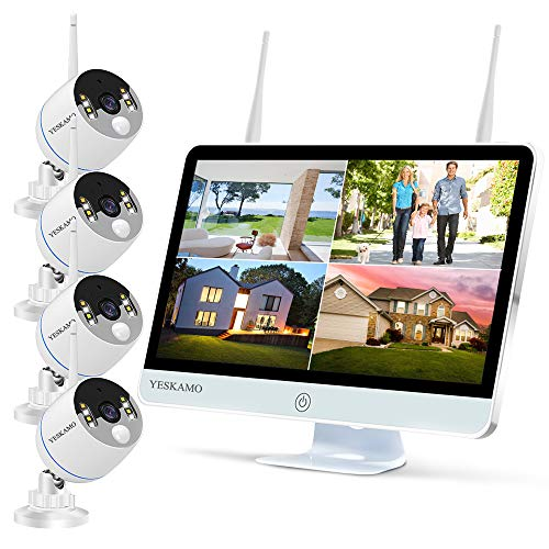YESKAMO Wireless Security Camera System Outdoor 16 Monitor [Floodlight & 2 Way Audio] 3MP Ultra-HD WiFi IP Cameras with 1080P IPS Screen for Home Video Surveillance, No Hard Drive