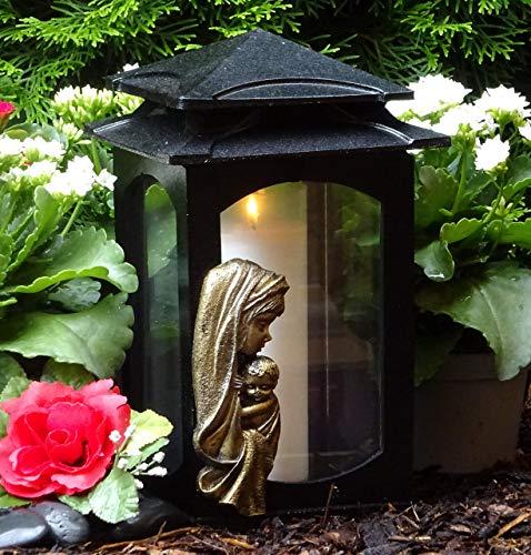 ♥ Grablampe Heilige Maria Massiv XL 28,0cm incl. Grabkerze Grabschmuck Grablaterne Laterne Grableuchte Friedhof Grablicht Kerze Lampe