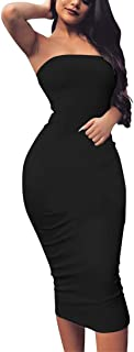 Women's Basic Sleeveless Tube Top Sexy Strapless Bodycon Midi Club Dress