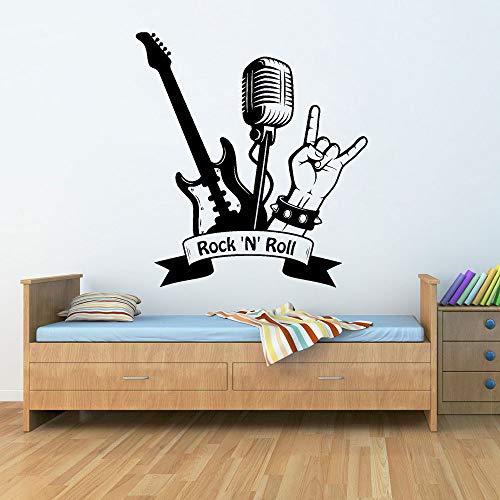 Rock vinilo etiqueta de la pared músico pegatina arte mural decoración de la habitación guitarra eléctrica patrón pegatina42x46 cm