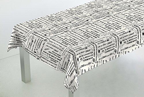 Confección Saymi Mantel Antimanchas Ref. Buenos Modales, loneta resinada, Medida 138x98