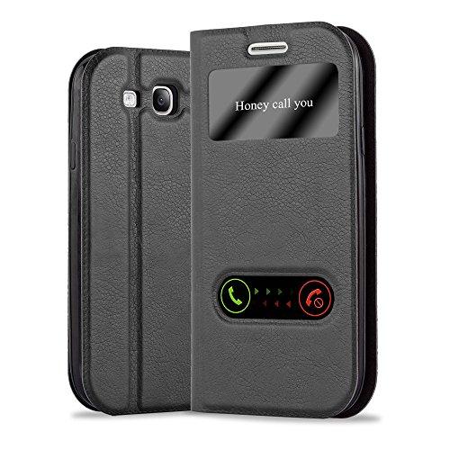 Cadorabo Hülle für Samsung Galaxy S3 / S3 NEO in KOMETEN SCHWARZ – Handyhülle mit Magnetverschluss, Standfunktion und 2 Sichtfenstern – Case Cover Schutzhülle Etui Tasche Book Klapp Style