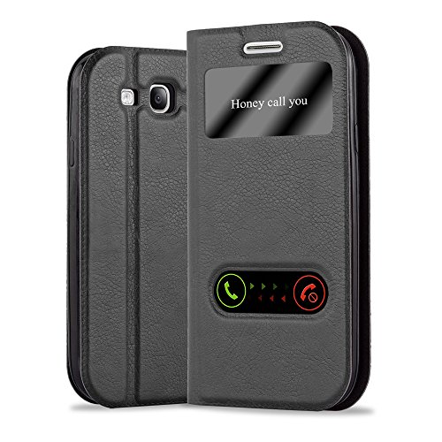 Cadorabo Hülle für Samsung Galaxy S3 / S3 NEO - Hülle in KOMETEN SCHWARZ – Handyhülle im Standfunktion & 2 Fenstern (View Design) - Case Cover Schutzhülle Etui Tasche Book Klapp Style