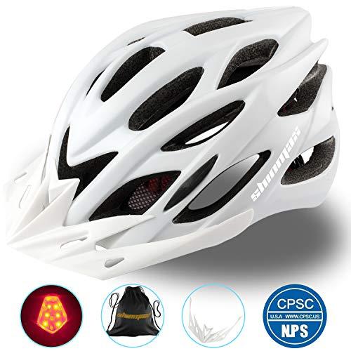 Shinmax Fahrradhelm mit Sicherheitslicht, Verstellbare Sport Bike Fahrradhelme für Motorrad für Erwachsene Männer Frauen Jugend Racing Sicherheit Schutz mit CE Zertifikat(Weiß-Großes Licht)