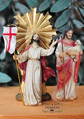 KREUZWEG Station 15-1 Auferstehung + Jesus als guter Hirte, im Himmel und auf Erden, 2 Figuren,Mt 28,1-10- Passion Christi - für 9-10 cm Figuren, ideal als Krippenfiguren-Zubehörset für Passionskripp