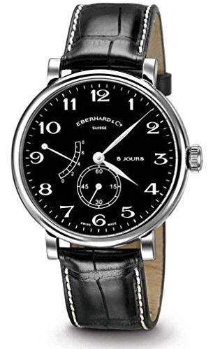 Eberhard 8 Jours Grande Taille Uhr, Handaufzug, ETA 7001, 41 mm, Krokodile
