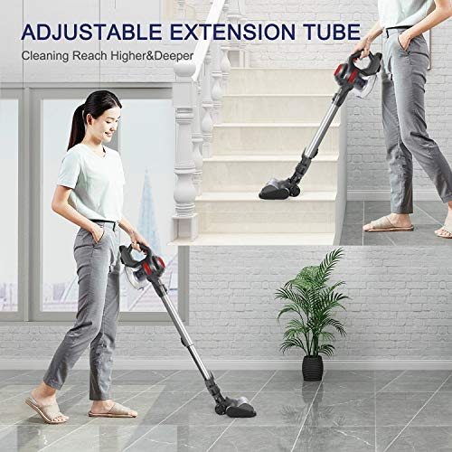 MOOSOO Cordless Vacuum, 4 in 1 Powerful Suction Stick Cleaner for Home Hard Floor Carpet Car Pet Lightweight XL-618A