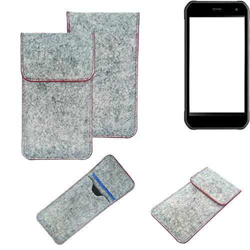 K-S-Trade Handy Schutz Hülle Für Cyrus CS 40 Schutzhülle Handyhülle Filztasche Pouch Tasche Hülle Sleeve Filzhülle Hellgrau Roter Rand