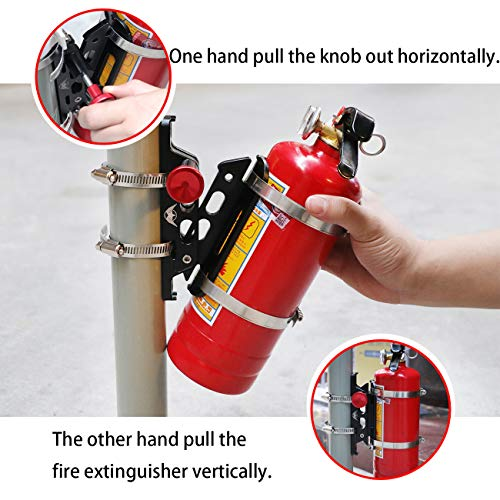 KOLEMO Universal Quick Release Adjustable Roll Bar Fire Extinguisher Mount Holder with 8 Clamps for Jeep Wrangler UTV Polaris RZR Ranger Camper Van with Pillar