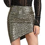 LIUMILAC Womens Ruched Asymmetrical Hem Bodycon Sequin Club Pencil Mini Skirt Gold S