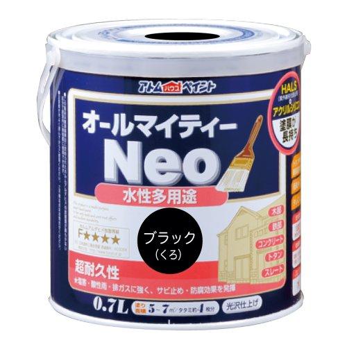 アトムハウスペイント 水性つやあり多用途塗料 オールマイティーネオ0.7L ブラック