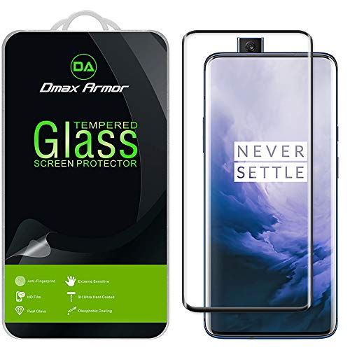 (2 Pack) Dmax Armor for OnePlus 7T Pro Tempered Glass Screen Protector, (Full Screen Coverage) (3D Curved Glass) (Black)