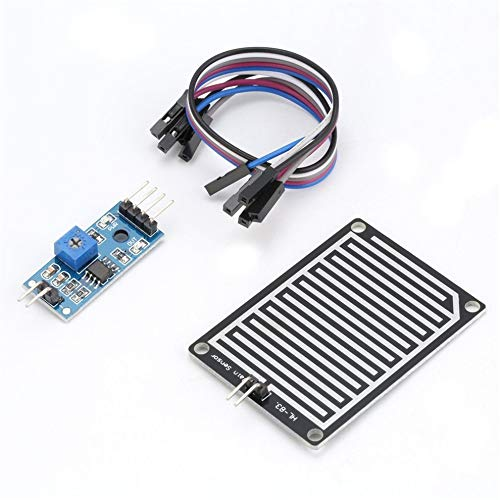 Tree-es-Life 5V LED Sensor de Lluvia Gotas de Lluvia Detección de Agua Humedad Kit de módulo de Humedad para Monitor Detector de Clima con Cable Azul