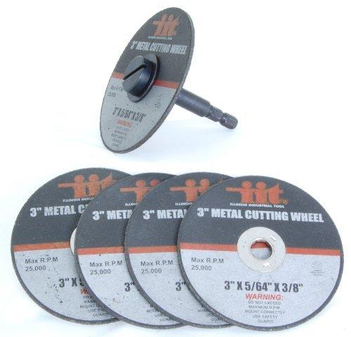3' Metal Cutting Wheels W/ 1/4' Mandrel, 5Pc #80210