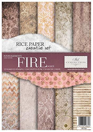 Itd Collection - Reispapier Kreativset A4 Decoupage Rice Paper Sheet 29,7 x 21 cm Mehrfarben (Fire)