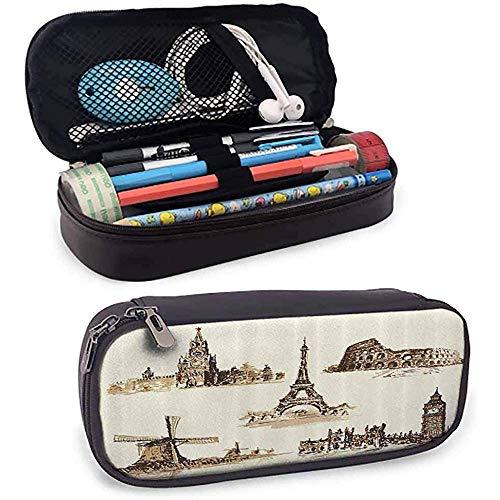 Bolsa de lápices antigua Viajero europeo flexible Viajero Ciudades turísticas Italia Francia España Imagen incompleta Papelería protectora