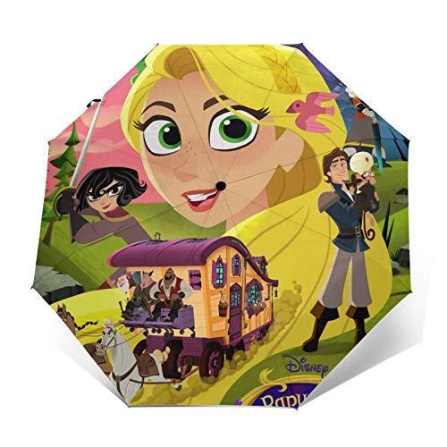 Paraguas plegables Tangled Rapunzel Paraguas de viaje plegables paraguas duradero a prueba de viento a prueba de viento ligero impermeable de impresión de moda